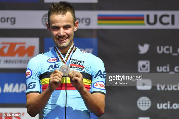 Podium / Victor Campenaerts of Belgium Bronze Medal / Celebration / during the Men Elite Individual Time Trial a 52,5km race from Rattenberg to...