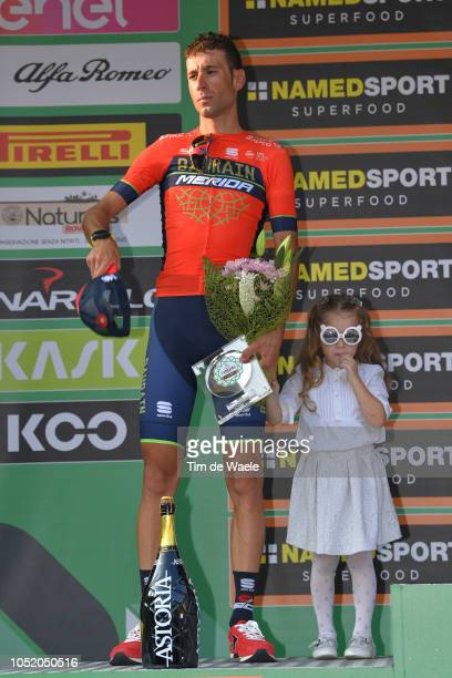 Podium / Vincenzo Nibali of Italy and Team Bahrain Merida / Giovanna Nibali of Italy Daughter / Celebration / Children / during the 112th Il...