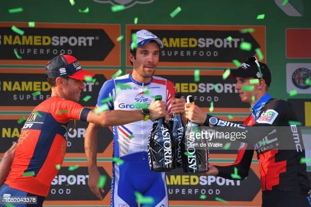 Podium / Vincenzo Nibali of Italy and Team Bahrain - Merida / Thibaut Pinot of France and Team Groupama - FDJ / Dylan Teuns of Belgium and Bmc Racing...