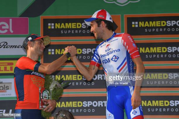 Podium / Vincenzo Nibali of Italy and Team Bahrain Merida / Thibaut Pinot of France and Team Groupama FDJ / Celebration / during the 112th Il...