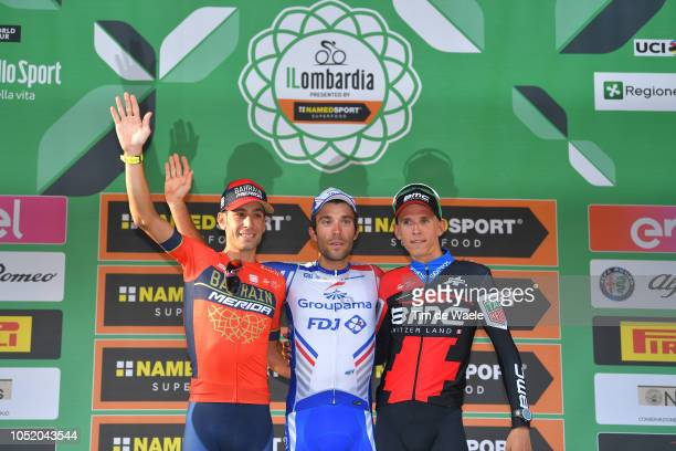 Podium / Vincenzo Nibali of Italy and Team Bahrain - Merida / Thibaut Pinot of France and Team Groupama - FDJ / Dylan Teuns of Belgium and Bmc Racing...