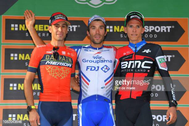 Podium / Vincenzo Nibali of Italy and Team Bahrain Merida / Thibaut Pinot of France and Team Groupama FDJ / Dylan Teuns of Belgium and Bmc Racing...