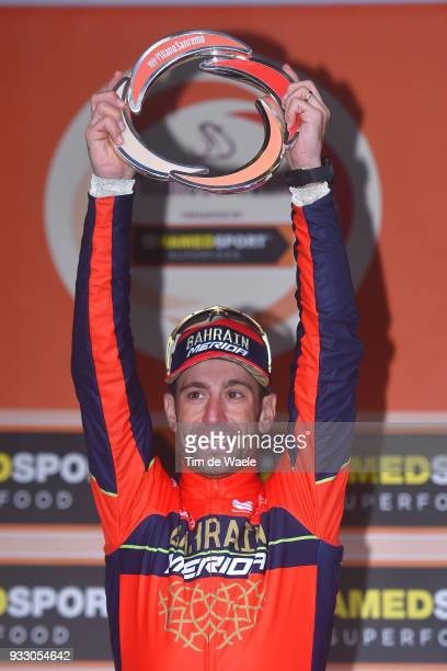 Podium / Vincenzo Nibali of Italy and Team Bahrain-Merida / Celebration / Trophy / during the 109th Milan-Sanremo 2018 a 291km race from Milan to...