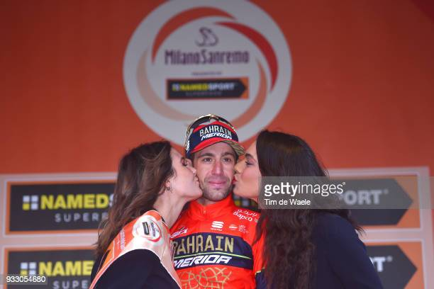 Podium / Vincenzo Nibali of Italy and Team BahrainMerida / Celebration / during the 109th MilanSanremo 2018 a 291km race from Milan to Sanremo on...