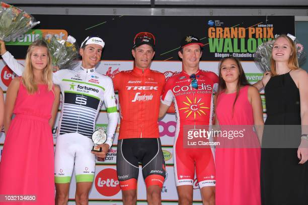 Podium / Warren Barguil of France and Team Fortuneo Samsic / Jasper Stuyven of Belgium and Team Trek Segafredo / Dimitri Claeys of Belgium and Team...