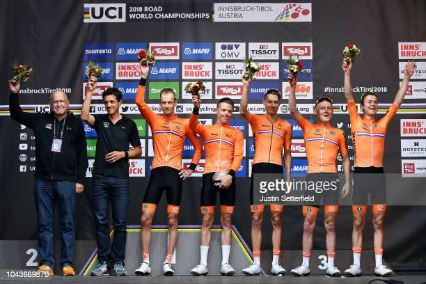 Podium / Wilco Kelderman of The Netherlands / Steven Kruijswijk of The Netherlands / Sam Oomen of The Netherlands / Antwan Tolhoek of The Netherlands...