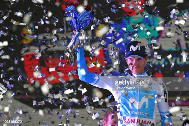 Podium / Winner Anacona of Colombia and Movistar Team White Leader Jersey / Celebration / during the 37th Tour of San Juan 2019, Stage 6 a 153,5km...