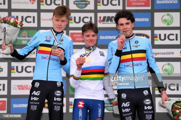 Podium / Witse Meeussen of Belgium and Team Belgium Silver Medal / Ben Tulett of Great Britain and Team Great Britain Gold Medal / Ryan Cortjens of...