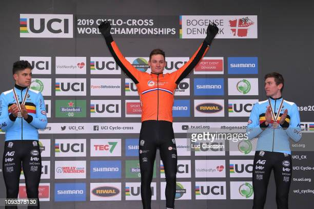 Podium / Wout Van Aert of Belgium and Team Belgium Silver Medal / Mathieu Van Der Poel of The Netherlands and Team The Netherlands Gold Medal / Toon...