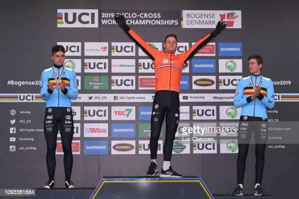 Podium / Wout Van Aert of Belgium and Team Belgium Silver Medal / Mathieu Van Der Poel of The Netherlands and Team The Netherlands Gold Medal / Toon...