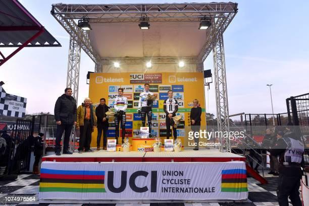 Podium / Wout Van Aert of Belgium and Team CibelCebon / Mathieu Van Der Poel of The Netherlands and Team Corendon Circus / Joris Nieuwenhuis of The...