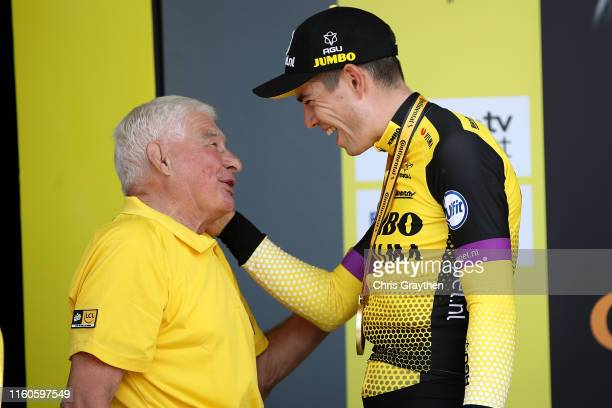 Podium / Wout Van Aert of Belgium and Team JumboVisma / Raymond Poulidor of France Ex procyclist / during the 106th Tour de France 2019 Stage 2 a 276...