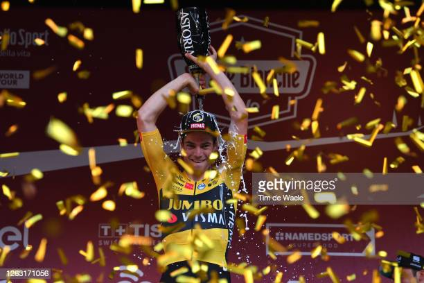 Podium / Wout van Aert of Belgium and Team Jumbo-Visma / Trophy / Celebration / Champagne / during the Eroica - 14th Strade Bianche 2020 - Men a...