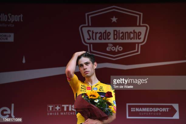 Podium / Wout van Aert of Belgium and Team Jumbo-Visma / Trophy / Celebration / during the Eroica - 14th Strade Bianche 2020 - Men a 184km race from...