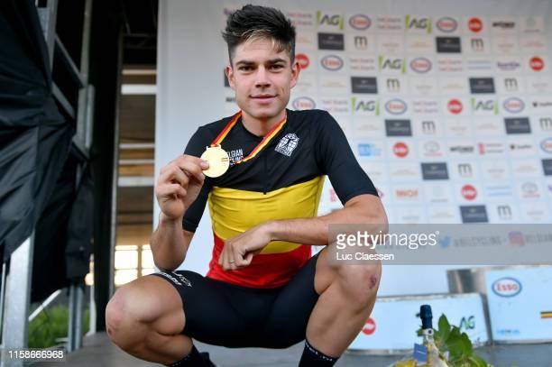Podium / Wout Van Aert of Belgium / Gold medal / Celebration / during the 120th Belgian Road Championship 2019 Individual Time Trial, Men Elite a...
