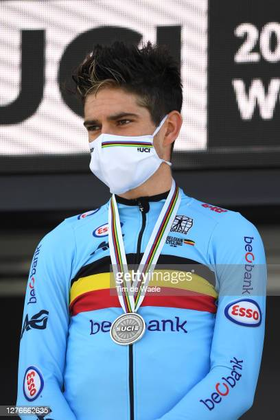 Podium / Wout Van Aert of Belgium Silver Medal / Celebration / Mask / Covid Safety Measures / during the 93rd UCI Road World Championships 2020, Men...