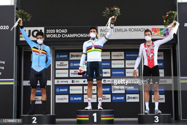 Podium / Wout Van Aert of Belgium Silver Medal / Filippo Ganna of Italy Gold medal World Champion Jersey / Stefan Kung of Switzerland Bronze medal /...