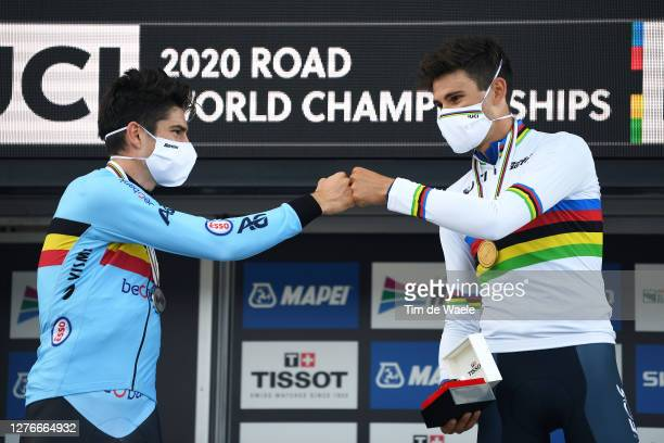 Podium / Wout Van Aert of Belgium Silver Medal / Filippo Ganna of Italy Gold medal World Champion Jersey / Celebration / Mask / Covid Safety Measures...