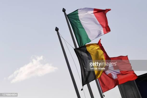 Podium / Wout Van Aert of Belgium Silver Medal / Filippo Ganna of Italy Gold medal World Champion Jersey / Stefan Kung of Switzerland Bronze medal /...