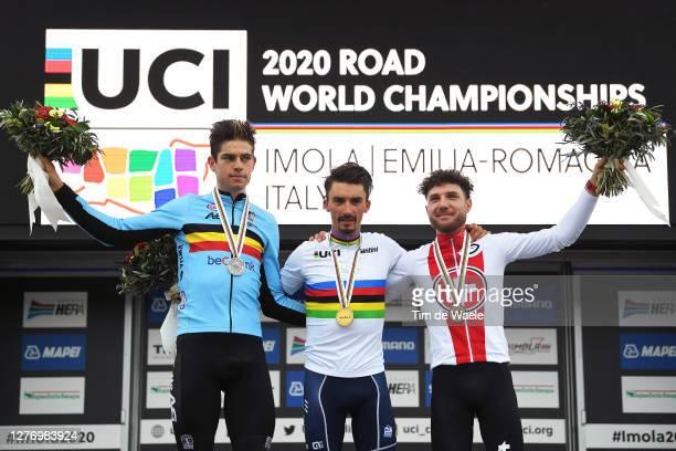 Podium / Wout Van Aert of Belgium Silver medal / Julian Alaphilippe of France Gold medal World Champion Jersey / Marc Hirschi of Switzerland Bronze...