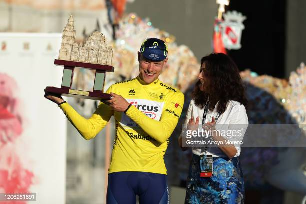 Podium / Xandro Meurisse of Belgium and Team Circus - Wanty Gobert Yellow Leader Jersey / Celebration / Cathedral Trophy / Hostess / during the 40th...