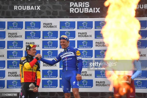 Podium / Yves Lampaert of Belgium and Team Deceuninck-QuickStep / Philippe Gilbert of Belgium and Team Deceuninck-QuickStep / Nils Politt of Germany...