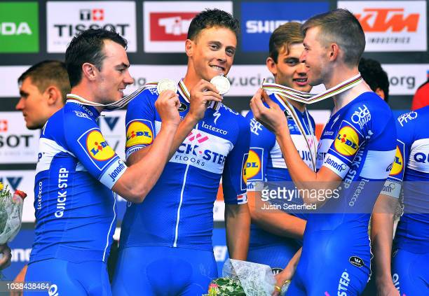 Podium / Yves Lampaert of Belgium / Niki Terpstra of The Netherlands / Laurens De Plus of Belgium / Team QuickStep Floors of Belgium / Gold Medal...