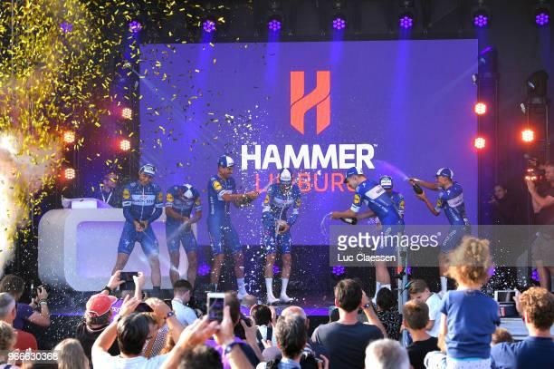 Podium / Yves Lampaert of Belgium / Philippe Gilbert of Belgium / Davide Martinelli of Italy / Kasper Asgreen of Denmark / Alvaro Jose Hodeg Chagui...
