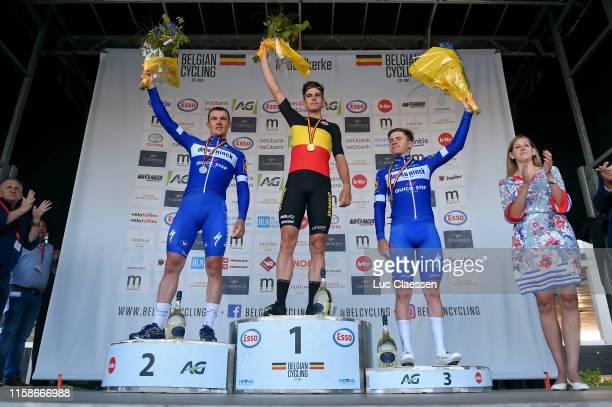 Podium / Yves Lampaert of Belgium Silver medal / Wout Van Aert of Belgium Gold medal / Remco Evenepoel of Belgium Bronze medal / Celebration / Miss /...