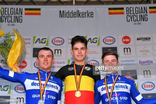 Podium / Yves Lampaert of Belgium Silver medal / Wout Van Aert of Belgium Gold medal / Remco Evenepoel of Belgium Bronze medal / Celebration / during...
