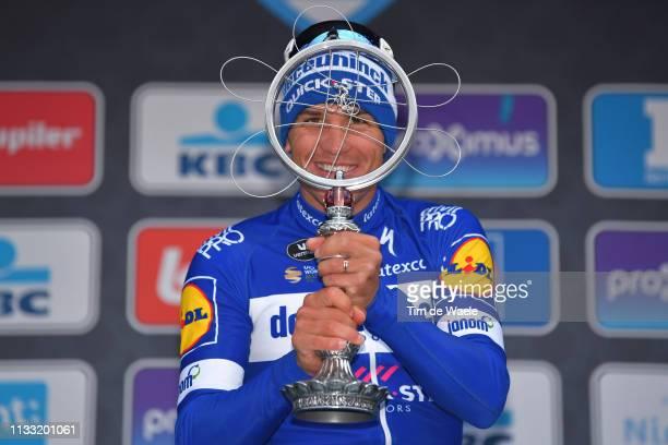 Podium / Zdenek Stybar of Czech Republic and Team Deceuninck Quick-Step / Celebration / Trophy / during the 74th Omloop Het Nieuwsblad 2019 a 200km...