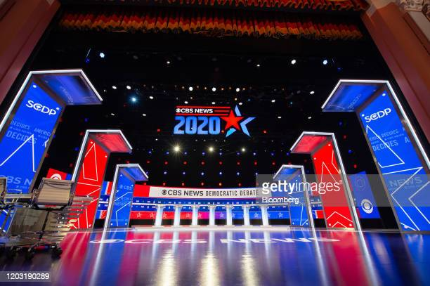 Podiums stand in the debate hall ahead of the Democratic presidential debate in Charleston South Carolina US on Tuesday Feb 25 2020 Michael...