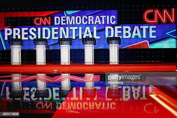 Podiums stand on stage during a walkthrough ahead of the first Democratic presidential debate at the Wynn Las Vegas resort and casino in Las Vegas...