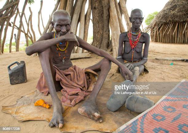 Podo and moko from Karo tribe who had to kill ten mingis children they had before their wedding Omo valley Korcho Ethiopia on June 11 2017 in Korcho...