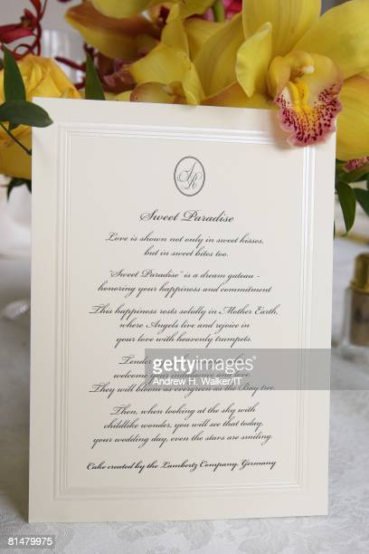 RATES A poem brought out with the cake at the wedding of Ivana Trump and Rossano Rubicondi at the MaraLago Club on April 12 2008 in Palm Beach...
