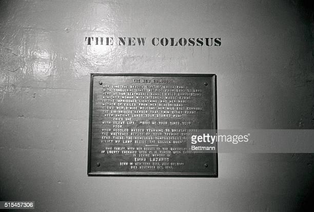 Poem entitled The New Colossus by Emma Lazarus located on the base of the Statue of Liberty