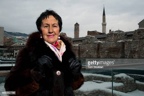 Poet Ajsa Zahirovic photographed in the Old Town area of Sarajevo. Ajsa was photographed by Tom Stoddart running for her life across Sniper Alley...