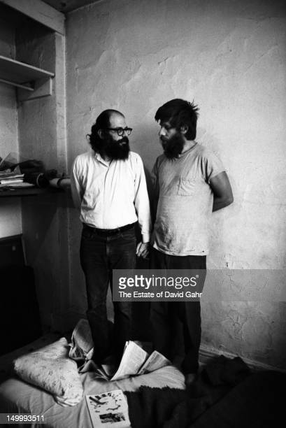 Poet Allen Ginsberg and friend Julius Orlovsky pose for a portrait at home on May 31 1969 in New York City New York