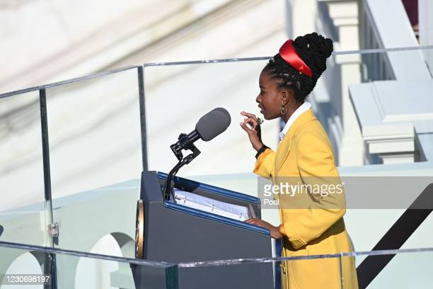 Poet Amanda Gorman recites one of her poems during the 59th Presidential Inauguration at the U.S. Capitol on January 20, 2021 in Washington, DC....