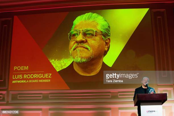 Poet and ARTWORXLA boardmember Luis Rodriguez speaks at ARTWORXLA's 25th Anniversary Gala 'An Evening Of Art' at Taglyan Cultural Complex on May 11...