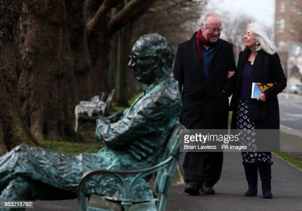 Poet and author Brendan Kennelly with poet and playwright Paula Meehan next to Patrick Kavanagh's statue on the Grand Canal in Dublin at the launch...