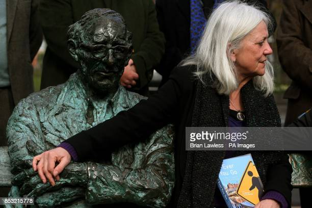 Poet and playwright Paula Meehan next to Patrick Kavanagh's statue on the Grand Canal in Dublin at the launch of this year's Dublin One City One Book...