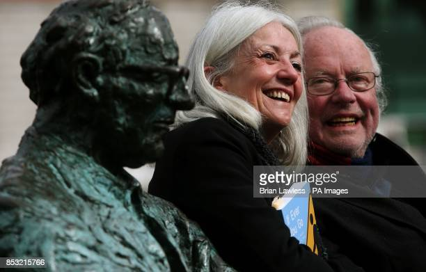 Poet and playwright Paula Meehan with poet and author Brendan Kennelly next to Patrick Kavanagh's statue on the Grand Canal in Dublin at the launch...