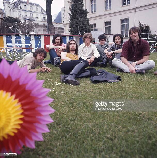 Poet And The One Man Band pose for a group portrait LR Ray Smith Pat Donaldson Pete Gavin Tony Colton Mike O'Neill Albert Lee and Jerry Donahue in...