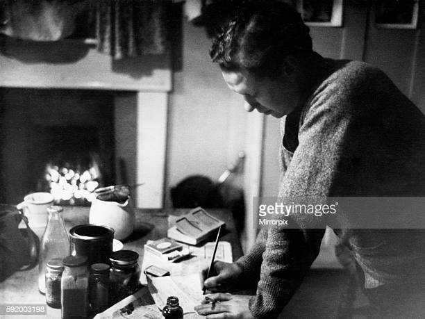 Poet Dylan Thomas pictured at his flat in Chelsea London 1945