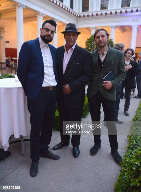 Poet Gabriele Tinti actor Robert Davi and filmmaker Oscar Sharp attend BritWeek at The Getty Villa on May 8 2018 in Pacific Palisades California