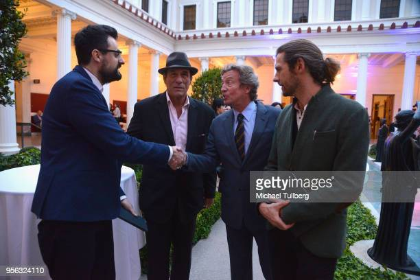Poet Gabriele Tinti actor Robert Davi dancing judge Nigel Lythgoe and filmmaker Oscar Sharp attend BritWeek at The Getty Villa on May 8 2018 in...