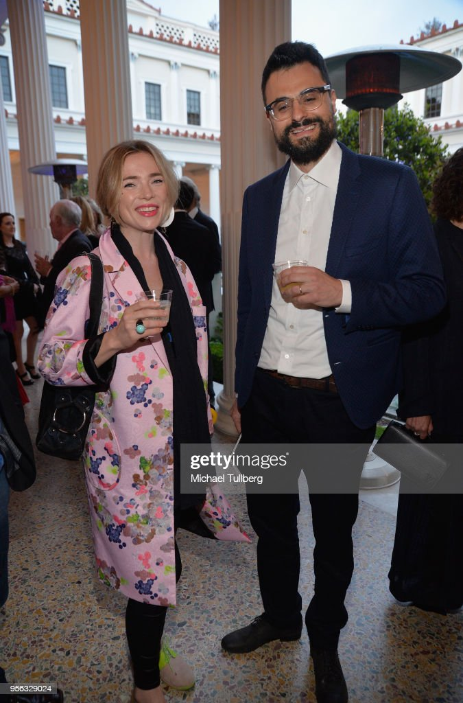 Poet Gabriele Tinti (R) and guest attend BritWeek at The Getty Villa on May 8, 2018 in Pacific Palisades, California.