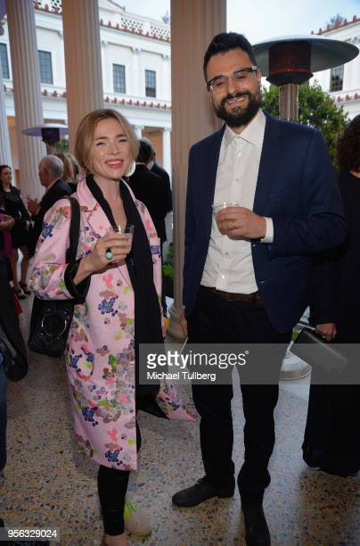 Poet Gabriele Tinti and guest attend BritWeek at The Getty Villa on May 8 2018 in Pacific Palisades California