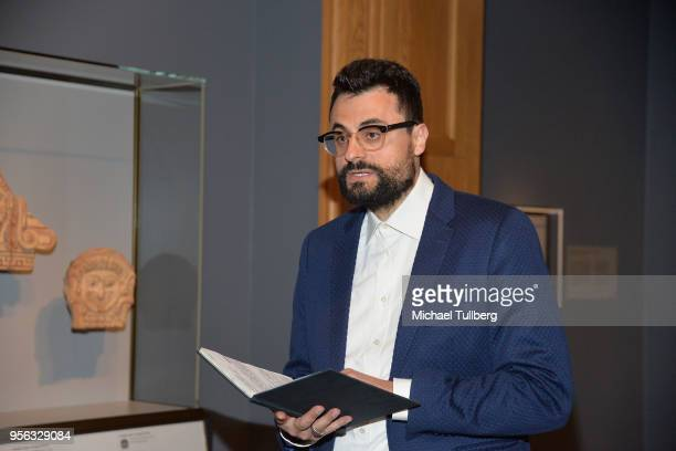 Poet Gabriele Tinti recites his poetry at BritWeek at The Getty Villa on May 8 2018 in Pacific Palisades California